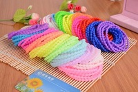 10pcs/lot Cute Gift Particle Beads Bracelets Silicone Night Luminous And Solid Color Style Girl Women Hair Rubber Band Mix Color