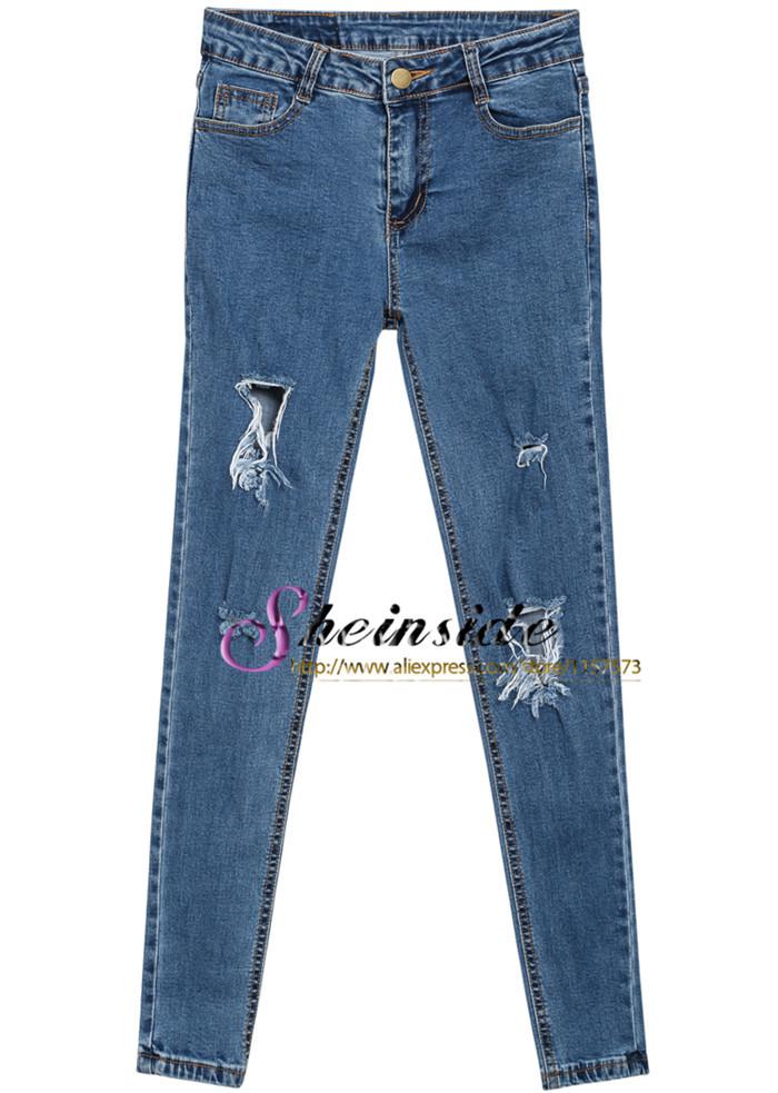 2014 estate fashion jeans di maternità design nuovo di marca High Street sottile a vita alta delle donne casual strappati blu tasche pantaloni denim