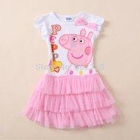 Retail New 2014 peppa pig cotton tutu girl dress baby girls wear child summmer clothing girl party dress vestido da peppa