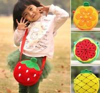 Super Kawaii Fruits 20CM Diameter Baby KID Kindergarten Satchel BAG Plush Satchel Messenger BAG Pack Outdoor Shoulder BAG Pouch