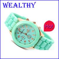 1pc Casual Watch Geneva Unisex Quartz watch 14color men women wristwatches Sports Analog Watches electronic 2015 New