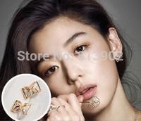 2014 new arrival fashion bowknot D clovers stud earrings for woman  wholesale 4pcs/lot