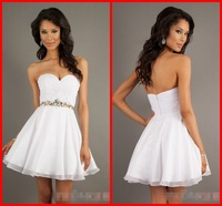 Free Shipping New 2014 Sexy Sweetheart Backless Mini Short Girls Homecoming Party Cocktail Dress Chiffon Crystal Sashes Dresses