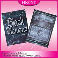 Hot sale Black diamond 1.5g 3g herbal incense spice potpourri bag / aluminum foil ziplock bag