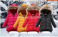 free shipping 2014 brand real fur Girls down coat down jacket winter children outerwear coats jacket  duck Down Parkas girls 682