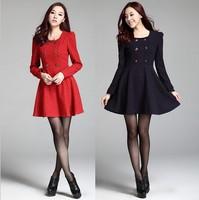 Women Autumn Winter Cute Dress New 2014 Fashion Long Sleeve Polka dot Print Vintage Dresses Vestidos Casual  Red Dark Blue