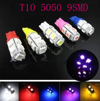 Free shipping  50pcs T10 9 SMD 5050 3Chips 184 192 W5W Wedge Car Auto LED LIGHT Bulbs