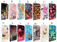 Fashion beautiful flower flip Leather wallet case for Sony Xperia M2  free DHL 300pcs/lot