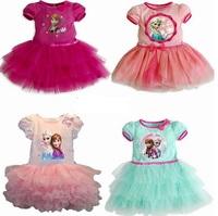 2014 Fashion Summer Baby Girls Child Kids Short Sleeve Party Princess Flower TUTU  Ball Gown Frozen Elsa And Anna Dress H0140753