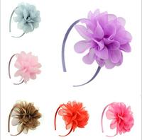 Free Shipping Lovely princess girls DIY manual chiffon flower headbands Hair Clasp (10 Pack)
