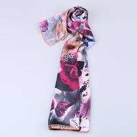 2014 Women's New Crepe Satin Plain 100% Silk Scarf Inkjet Printed, Lengthen Elegant lager silk scarf women