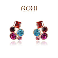 ROXI 2014 New Fashion Jewelry Rose Gold Plated Statement Colorful Stones Stud Earrings For Women Party Wedding Free Shipping
