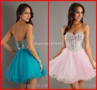 New Design Charming Custom Made 2014 Sexy Sweetheart Mini Short Organza Shiny Crystal Formal Graduation Homecoming Party Dress