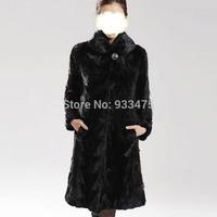 New 2014 Luxury Winter Genuine Real Pieces Mink Fur Coat Hoody Women Fur Classic Trench Outerwear Coats Overcoat TPC021