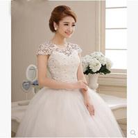 2015 Fashionable Romantic Sexy Lace Vintage Belt Short Sleeve Wedding Dress Princess Elegant Vestido Women Plus Size Bride Dress