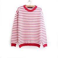 2014 New Fashion European Style Love Hearts Patch Striped Knitwear Pullover Ladies Sweater Long Sleeve Women Sweaters