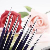 New Fashion 10pcs/Set DIY Professional Nail Art Design Painting Tool Pen Polish Brush Set UV Gel Nail Print Brush Pen Purple