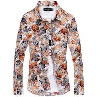2014 autumn and winter brand printing camisetas masculinas designer casual long-sleeved cotton shirt camisa masculina