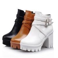 2014 New Fashion Punk Rock Buckle Strap Chunky Heels Platform womens Ankle Boots Shoes Women Platform Buckle Zipper Martin Boots