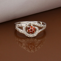 Wholesale 925 Sterling Silver Jewelry Women's Ring Flower Cz Red Crystal Party Size 8 R281