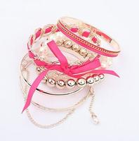 2014 Fashion Multilayer Pearl Bow Bracelet For Women Bead Banlge Fashion Jewelry wholesale XY-B441