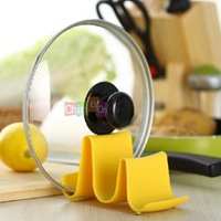 Yellow Color 1PC Wave Style Pan Pot Cover Lid Rack Cellphone Spoon Stand Holder Display Cooking Tools