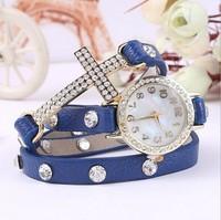 2014 New Listing Korean Fashion Simple Cross Inlaid Rhinestones Long Leather Quartz Watches Women Dress Watch Retro Bracelet