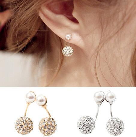 Elegant Women Korean Exquisite Simulated Pearl Full Rhinestone Beads Drop Earring E2684(China (Mainland))