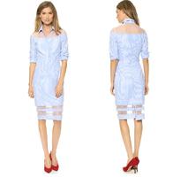 Delicate Fresh Stripe Cotton Blue and White Stripe Gauze Patchwork Perspective Long-sleeve Knee Length Dress Autumn Dress Women