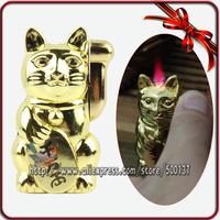 Novelty Maneki Neko Lucky Cat Design Refillable Hot Pink Jet Flame Cigarette Cigar Butane Gas Lighter