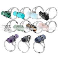 3Pcs/Lot.Silver Plated Rock Crystal Quartz Classic Healing Chakra Reiki Hexagon Adjustable Finger Ring Gift Freeshipping