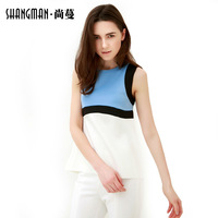 2014 New summer O-neck sleeveless contrast color fashion European style T-shirts,Women elegant  top,Free shipping