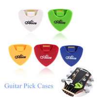 Hot Sell Alice 5pcs Plactic Triangle Shape Sticky Guitar Pick Plectrum Holder/Cases/Container Wholesale Price
