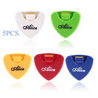 Portable Alice 5pcs Plactic Triangle Shape Guitar Pick Plectrum Holder Cases Container Sticky Wholesale Price