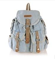 New Arrival!2014 Fashion Girl Denim Backpacks,Vintage Jean Backpack Sling Drawstring Denim Bags For Women 2 color