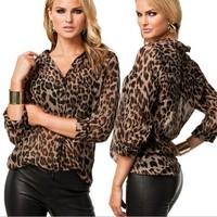 Europe new summer woman's leisure all-match leopard chiffon shirt  WO1252