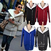 New 2014 Fashion Solid Women Sweatshirt Outwear Zip-Up Hoodies Coat Sports Suit Women 5 Colors Free Shipping