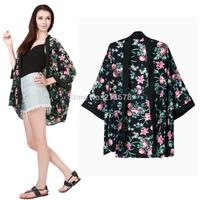 Vintage Women Black Floral Kimono Cardigan Jacket Half Sleeve Blouse Cape Coat Casual Brand Design Tops
