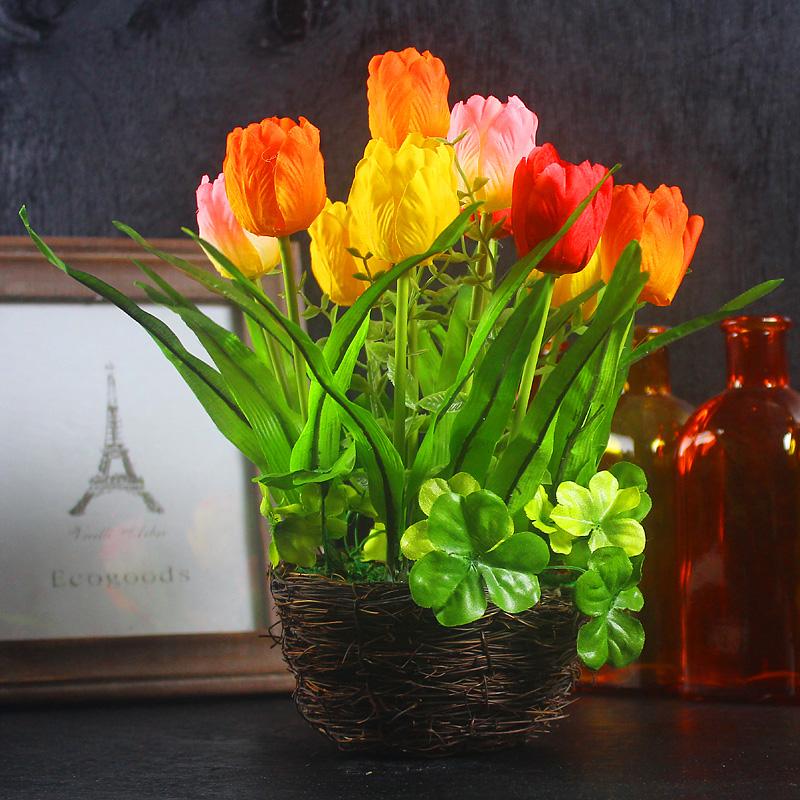Vasos de flores decorativas plantadores flores artificiais tulip arranjos relógio mk Bonsai flores artificiais com vaso(China (Mainland))