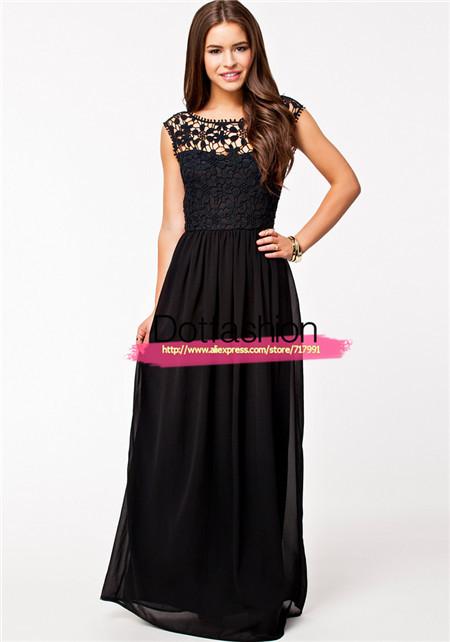 2014 été, soirée chic mode féminine vêtements de sport noir sans manches floral dentelle au crochet maxi robe de soirée sexy