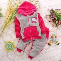 Hot Retail  velvet cartoon hello kitty KT cat childrens clothing 0-3 age suit set girl's tops coat zipper Hooded Sweater+Pants
