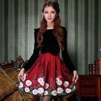 Autumn dresses floral/flower women brand high quality black fleece dress patchwork silk dress with a bow free shipping Nora10408