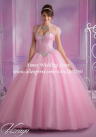 Princess Pink Quinceanera Dresses Ball Gowns Sweetheart Bodice Beaded Crystal Corset Gala Gowns Vestidos De 15 Anos With Bolero