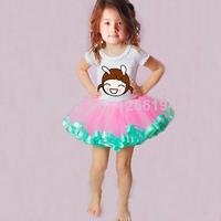2014 Baby Tutu Skirts Saia Skirts 2-8Years Old Girl Ribbon Edged Sewn Fluffy Skirts Pageant Skirts Free Shipping