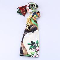 2014 Women's New Crepe Satin Plain 100% Silk Scarf  Inkjet Printed Peacock , Lengthen Elegant lager silk scarf women