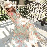 Korean version of the shoulder chiffon long skirt Bra seaside resort beach wild sweet princess dress wholesale printing