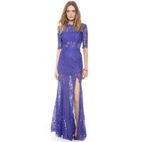Charm Eyelash Lace Back Deep V Tassel Double Layer Side Split Floor Length Amazing Beautiful Half Sleeve Dress Dropshiping