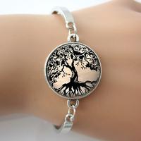 Glass Tile bracelet,Tree bangle,Tree of Life Glass,Tile Jewelry Tree Jewelry Black bracelet,Glass Tile Pendant Black Jewelry