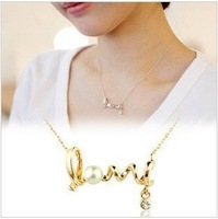 Free shipping necklace new fashion jewellery love choker necklace nice gift for women Bijou Gold Love Letter Necklace