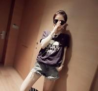 New 2014 Summer Korean Sun Shine  Printed  Short Sleeve O-neck Loose Casual Tee Tops girl t shirt women Free Shipping  1635